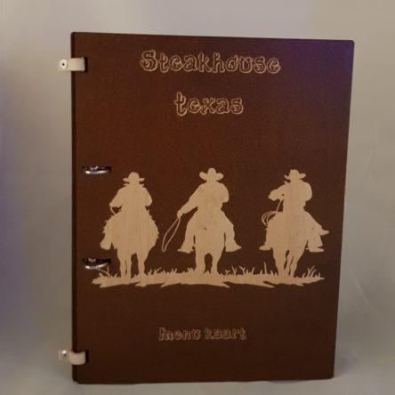 Stoer menu boek van hout 3mm